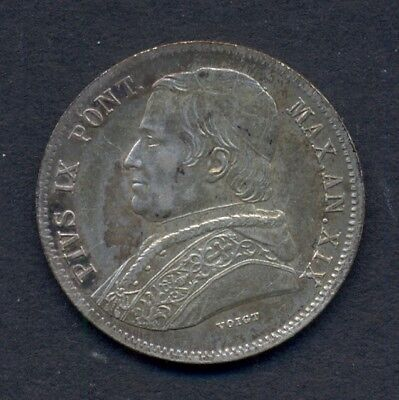 Vatican   Papal States    20 Baiocchi  1865-R   Pope Pius IX   Silver