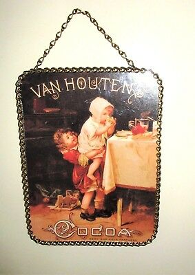 "Gallery Graphics,Flue Cover,8""x6"" Chain Frame,Early 1900's Van Houten's Cocoa Ad"