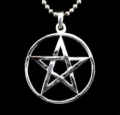Handcrafted 925 Sterling Silver Medium Round Pentacle Pentagram Pendant Wicca