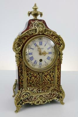 STUNNING BOULLE CLOCK red shell & brass inlay FRENCH MADE ormolu mounts