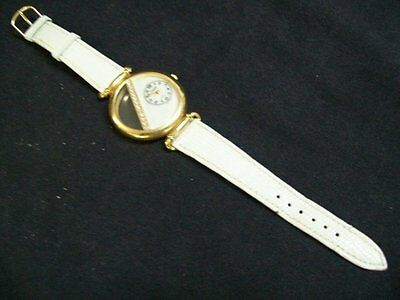 Womens Xanadu Watch Mother of Pearl & Diamond Face, Gold Trim White Leather Band