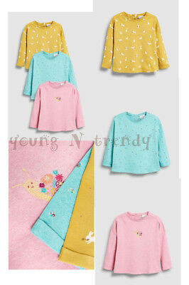 BNWT NEXT 9-12-18 months girls 3 TOPS SET *FLORAL*BUNNY *PINK/YELLOW/BLUE