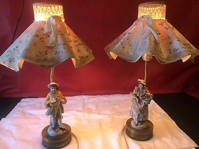 Pair of Antique Night Stand Lamps Porcelain Ceramic Victorian Figurine lace