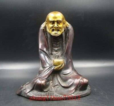 Collectible Handmade Carving Statue Bodhidharma Copper Brass Gilt XuanDe Mark