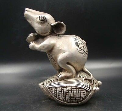 Collectible Handmade Carving Statue Copper silver mouse rat & Corn Art Deco