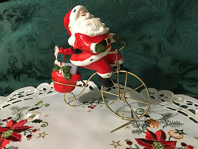 Vintage Christmas Ceramic Japan Santa Figurine Riding Bike With Gifts-So Cute!