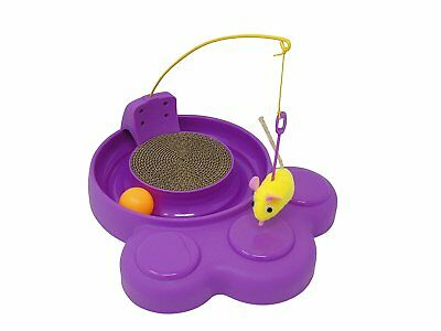 Cat Toy Interactive Play 3 in 1 Mouse Teaser Ball Track Chase Scratch Pad Fun