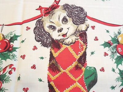 """Vintage Cotton Christmas Border Fabric, Puppies in Stockings, 37""""W x 38"""", Exc!"""