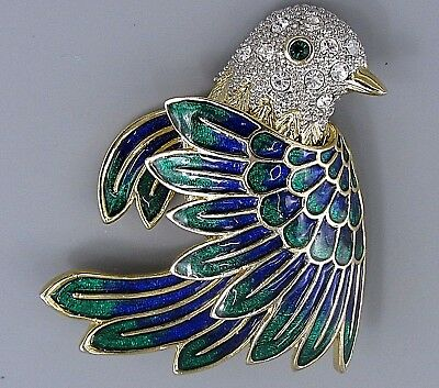 Vintage Jewelry Faceted Crystal Flying Bird BROOCH PIN Rhinestone Lot R