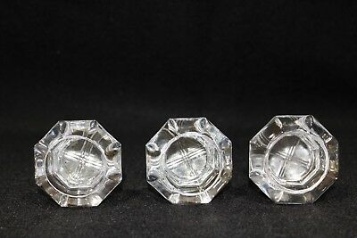 Antique Vintage Glass and Brass Door Knobs - Octagon - Set of 3