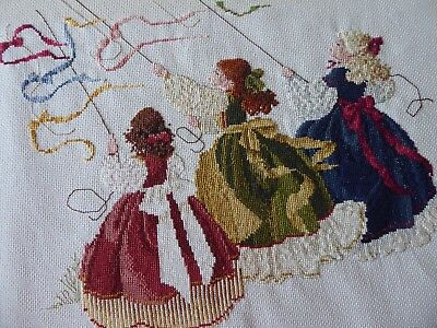 Vintage Hand Embroidered Cross Stitch Picture - Pretty Girls At Maypole