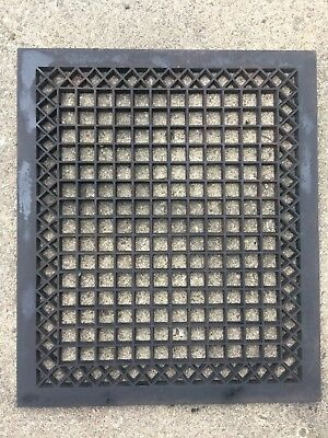 LARGE Metal CAST IRON Window Grate Antique Garden Basement Louvered Floor Heat