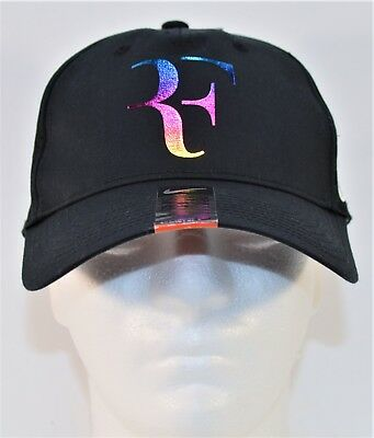 Nike RF Roger Federer Iridescent Black Dri Fit Tennis Hat Cap NEW 835536 010 9fb3a1ee2ed1