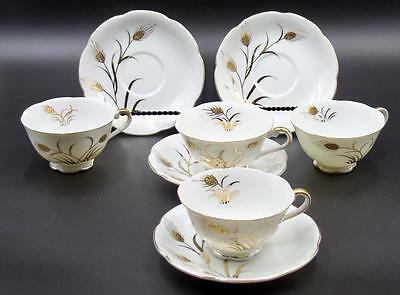 Vintage Lefton 4  & CUP SETS Golden Wheat Design 20602 4 Saucers & 4 Cups