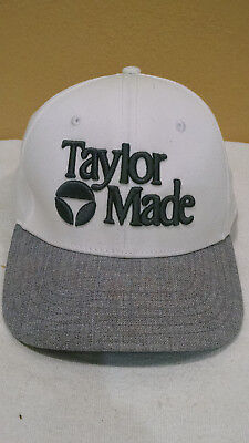 Golf Taylormade Tyalor Made Hat Cap White Grey Fitted Small medium Flex Fit  Size e14b9127ca76