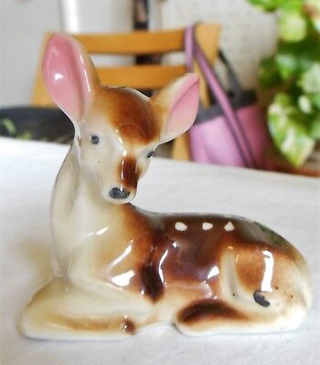 Vintage Porcelain Spotted Baby Deer Fawn Figurine Laying Down Japan