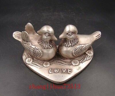 Collectible Handmade Carving Statue Copper silver Mandarin Duck Deco Art