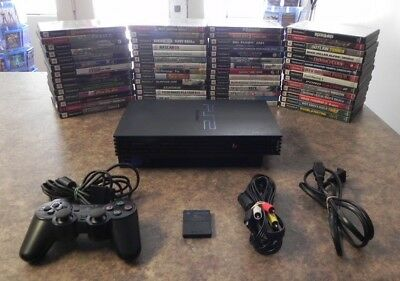Sony PlayStation 2 PS2 Black Fat Model Console Bundle with Games   Fast Shipping