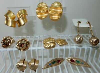 7 Pair Vintage Matte Gold Finish Clip Earrings circa 1950-1980's