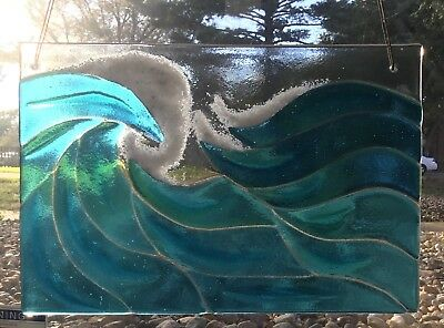 Stained Glass Turquoise Blue Ocean Waves Window Panel Handmade