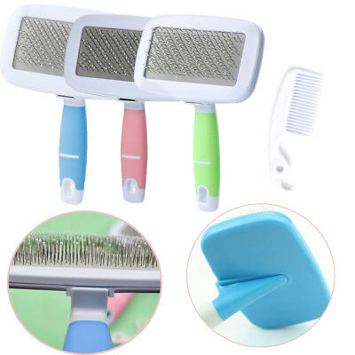 Handle Shedding Pet Dog Hair Brush Massage Bath Comb Grooming Fur Cleaning Tool.