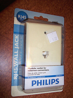 Philips Wall Jack Modular Outlet For Phone Or Modem Connections 6 Conductor RJ45