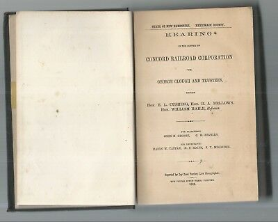 1869 Hearing Concord Nh Railroad Corp. Vs George Clough. Stealing By Conductors