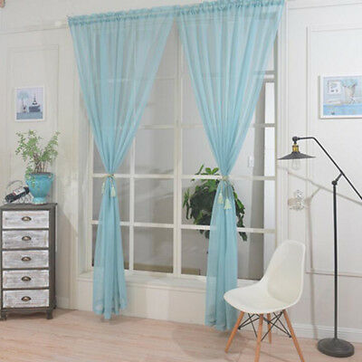 Plain Color Voile Curtain Panel Rod Pocket for Sliding Class Door Window