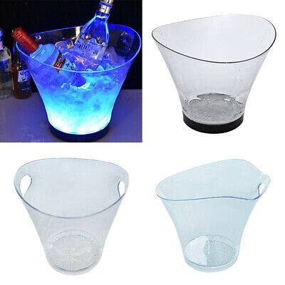 Acrylic LED Ice Bucket Wine Cooler Bar Champagne Wine Drinks Beer Bucket