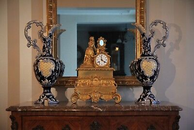 Impressive Pair of Antique Continental Porcelain Ewers of Classical Form