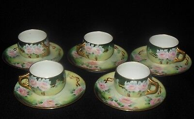 A K Limoges 5 Hand Painted Espresso/chocolate Cup Saucer Sets Pink Roses 1890