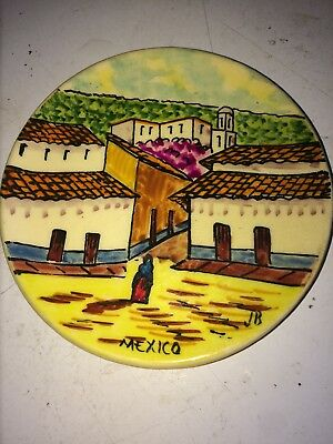 """4"""" Dish Hand Made & Painted Ceramic Mexican City Scene Plate Signed """"JB Mexico"""""""