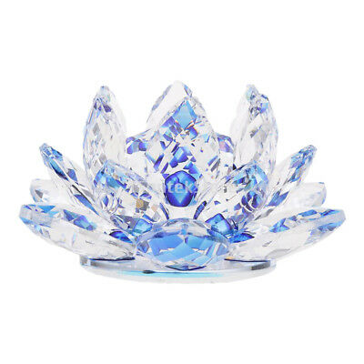 Crystal Lotus Flowers Crafts Paperweights Buddhist Feng Shui Ornaments Blue