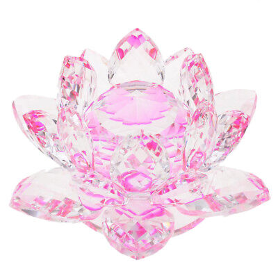 Crystal Lotus Flower Crafts Paperweights Glass Model Feng Shui Decor Pink