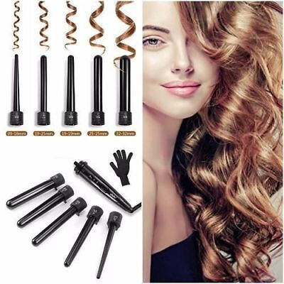 5 in1 Ceramic Hair Curler Interchangeable Iron LED Wand Curling Roller Set&GLOVE