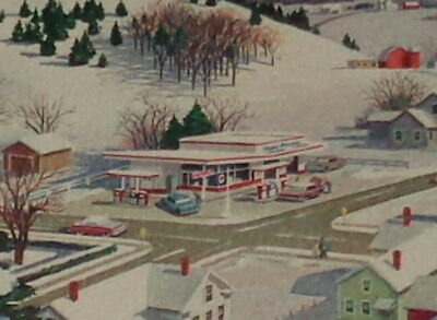 """Vintage Christmas card, from Esso service station, Exxon gasoline 6"""" used"""
