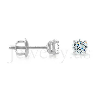 1/2 ct. T.W. Created Diamond 14k White Gold Round Solitaire Earrings Screw-Back