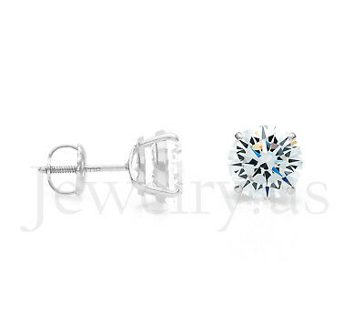 3.00 ct. T.W. Created Diamond 14k White Gold Round Solitaire Earrings Screw-Back