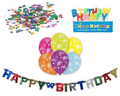 Happy Birthday Decorations-Set, Banner Candles Confetti 6x-Balloons, Perfect For