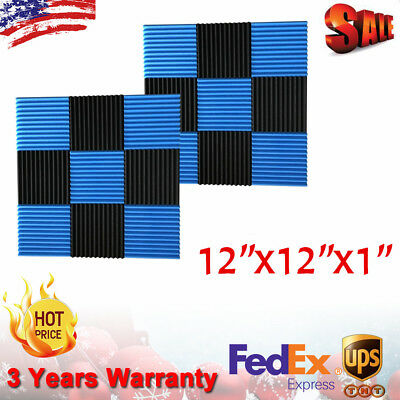 """48 Pack Acoustic Foam Panel Wedge Studio Soundproofing Wall Tiles 12""""x12""""x1"""" USA"""