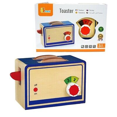 Brand New Viga Wooden Toaster With 2 Bread Slices Pretend Play Kitchen