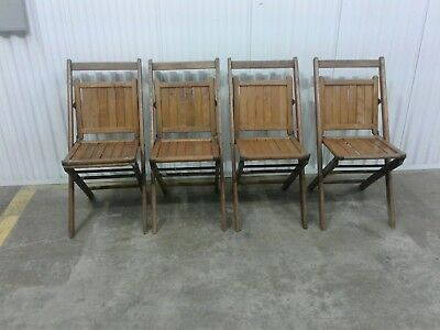Set of 4 Antique Vintage Sears Wood Folding Chairs Oak (h100)