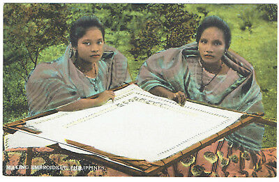 Philippines couple of women making embroidery