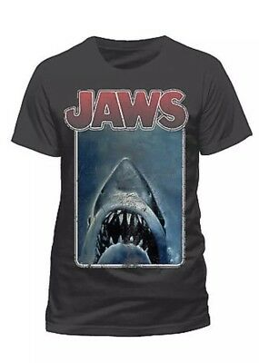 Jaws Official Poster T Shirt Charcoal Distressed M New With Tags
