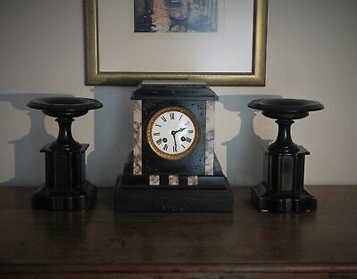 French Antique Black Slate & Marble Clock and Garnitures LP Japy & Cie c.1878