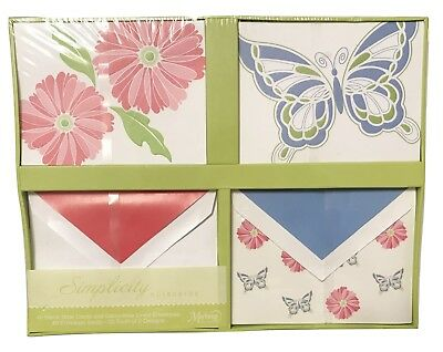 C.R. Gibson Markings Simplicity Note Cards Set with Flowers & Butterflies, 40 ct