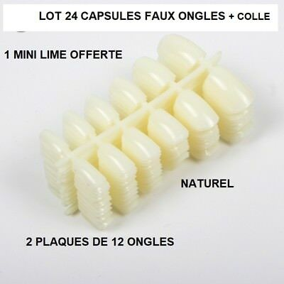 Lot 24 Capsules Tips Faux Ongle Naturel Gel Uv Vernis Colle Lime French Ong408