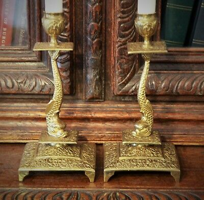 Pair of Decorative French Antique Brass Candlesticks