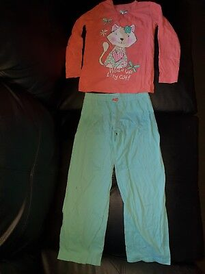 M&S Uk Girls Size 6 - 7 Years 2 Pce Set Pyjamas Sleepwear Cat Top & Bottoms