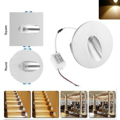 1W AC100-245V LED Wall Recessed Light Indoor Walkway Step Stair Wall Corner Lamp